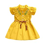 Girls Dresses Kid Toddler Baby Sleeveless Ruffle Button Up Swing Dress Clothes with Belt (12-18 Months, Yellow)