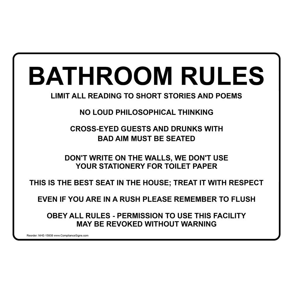 Tremendous Bathroom Rules Sign 10X7 Inch Aluminum For Restrooms By Compliancesigns Beutiful Home Inspiration Semekurdistantinfo