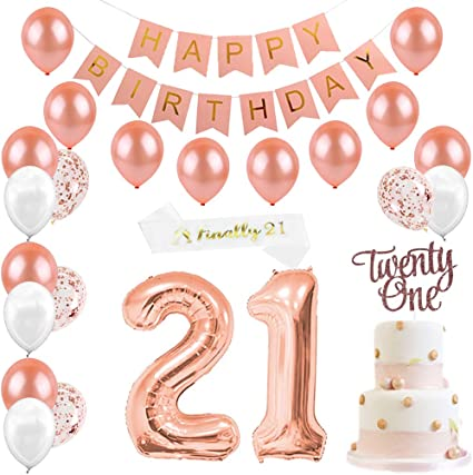 21st Birthday Gifts Balloons for Her 21st Birthday Decorations Party Supplies 21 Cake Topper Rose Gold Banner for Finally Legal 21st Birthday Party