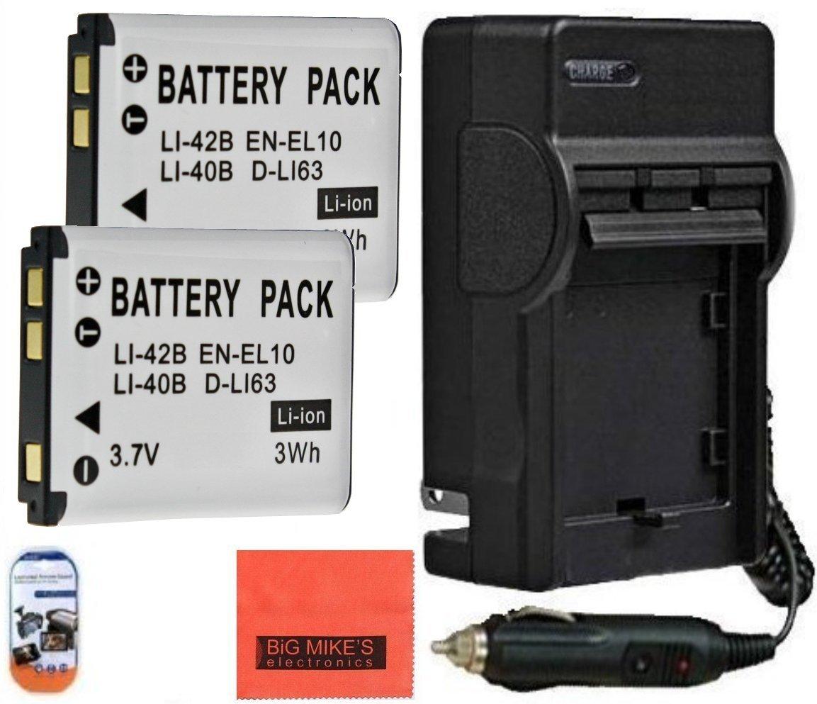 2 - Pack of en-el10電池の充電器for Nikon Coolpix s60、s80、s200、s210、s220、s230、s3000、s4000、s500、s510、s520、s570、s600、s700、s5100デジタルカメラ+ More 。 B00N34VZ9U
