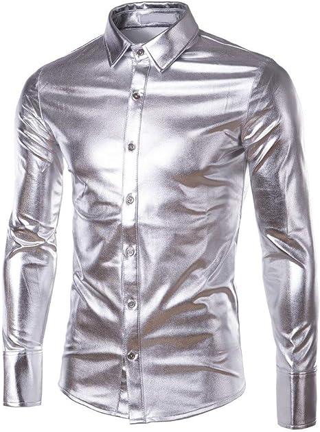 Internet-Camisa de Manga Larga con Revestimiento Brillante de Charol para Hombre(Negro/Azul/Oro/Púrpura/Plata M-3XL): Amazon.es: Ropa y accesorios