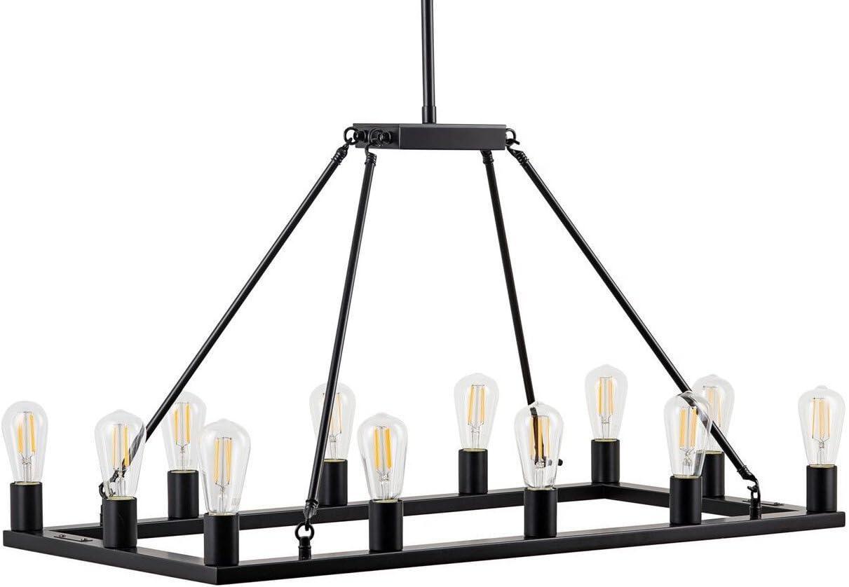 Sonoro Rectangular Kitchen Island Light Black w Bulbs – Linea di Liara LL-CH5-1836-5BLK
