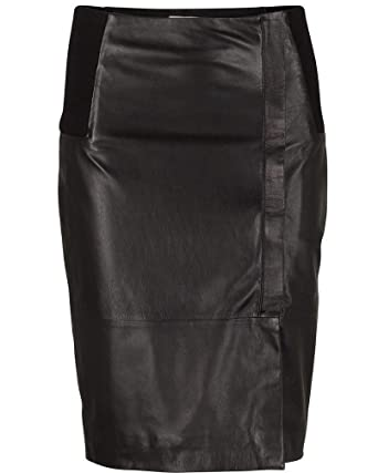 Klo Real Leather Pencil Leather Skirt in Black: Amazon.co.uk: Clothing