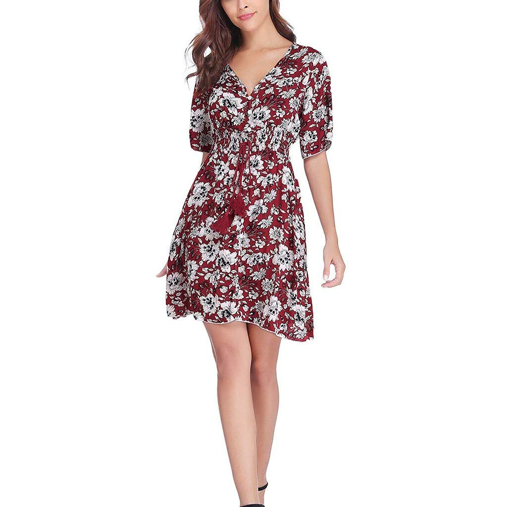 Gocheaper Women's Short Sleeve Button Up Split Floral Printed Flowy Party Dress(Red,S=US: 4)