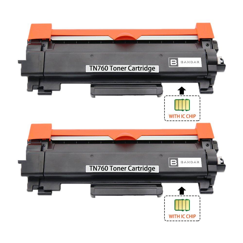 Bandar (WITH CHIP) 2 Pack TN760 Toner Cartridge HL-L2395DW Toner High Yield Compatible TN730 Ink Cartridge for Brother DCP-L2550DW HL-L2350DW HL-L2370DW MFC-L2710DW MFC-L2750DW (2B)