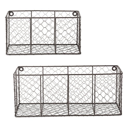 (DII Farmhouse Vintage Chicken Wire Wall Basket, Set of 2 Assorted, Rustic Bronze)