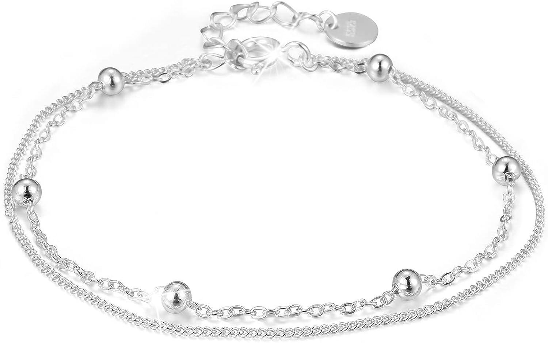 Lotus Fun - Pulsera de plata de ley 925, cadena de perlas de doble capa, personalidad minimalista, hecha a mano, joya única para mujeres y niñas