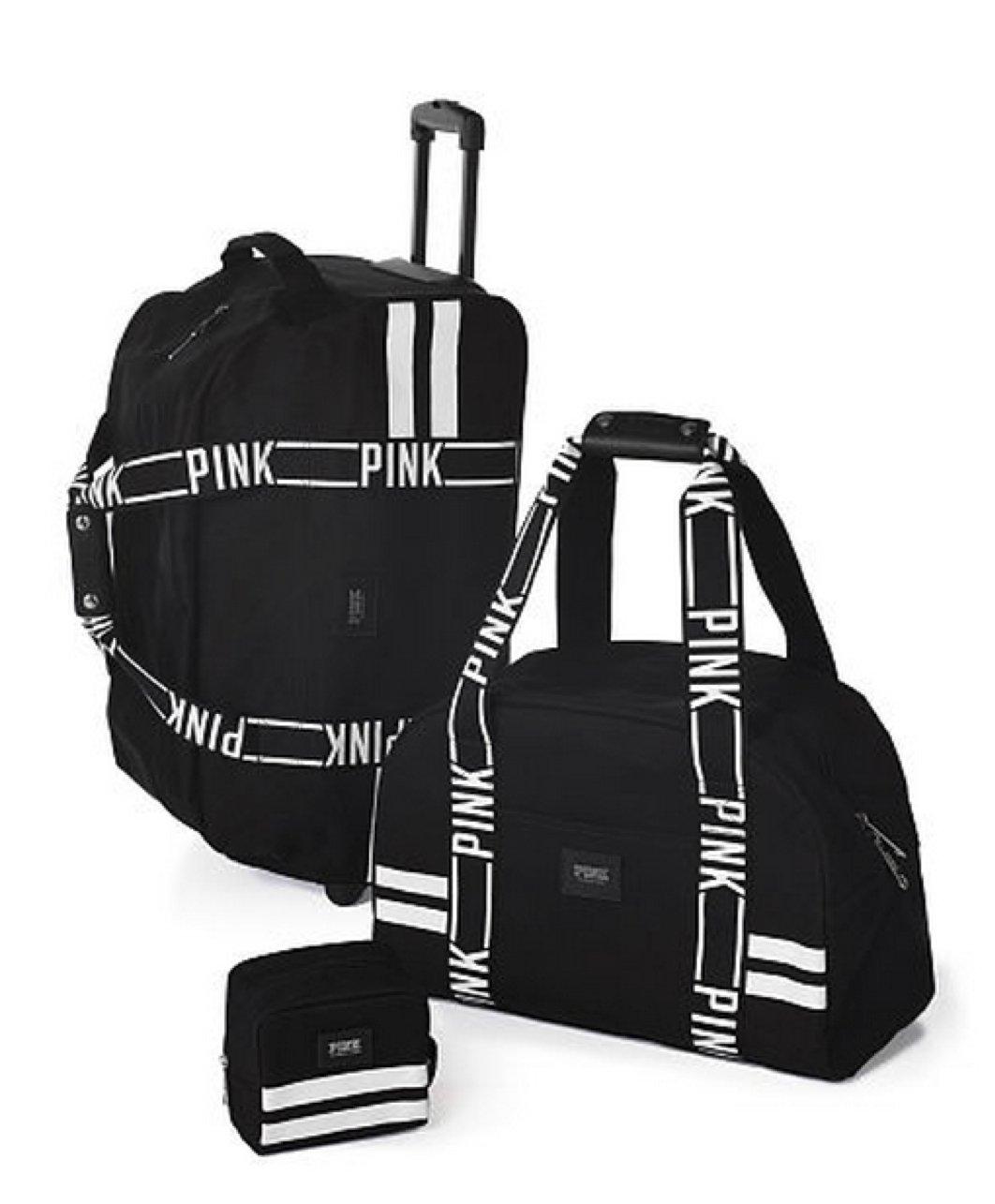 Victoria's Secret PINK Women's 3 Piece Luggage Travel Set Black White Logo Straps
