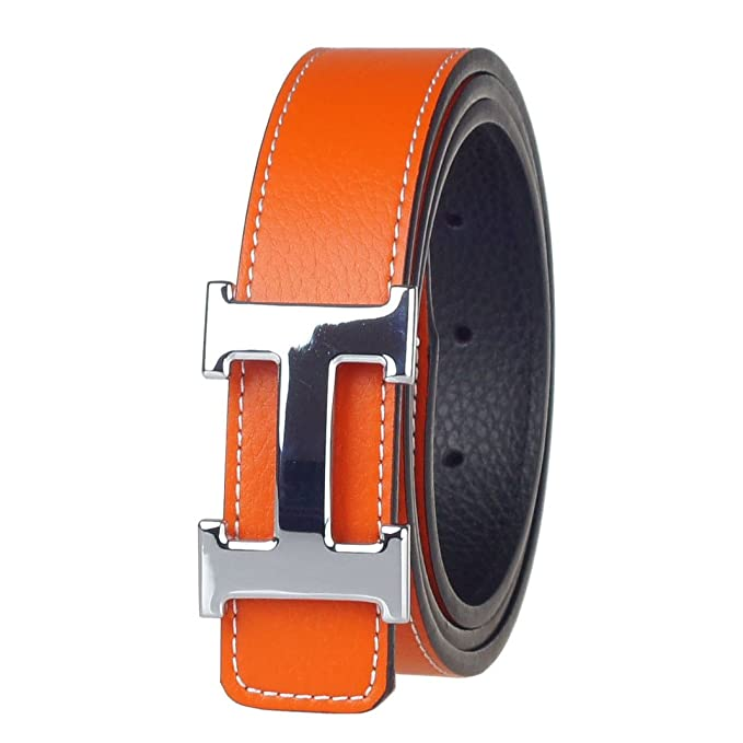 ac394a3ea101 G-FOR Women H Reversible Leather Belt With Removable Buckle 36inch Orange