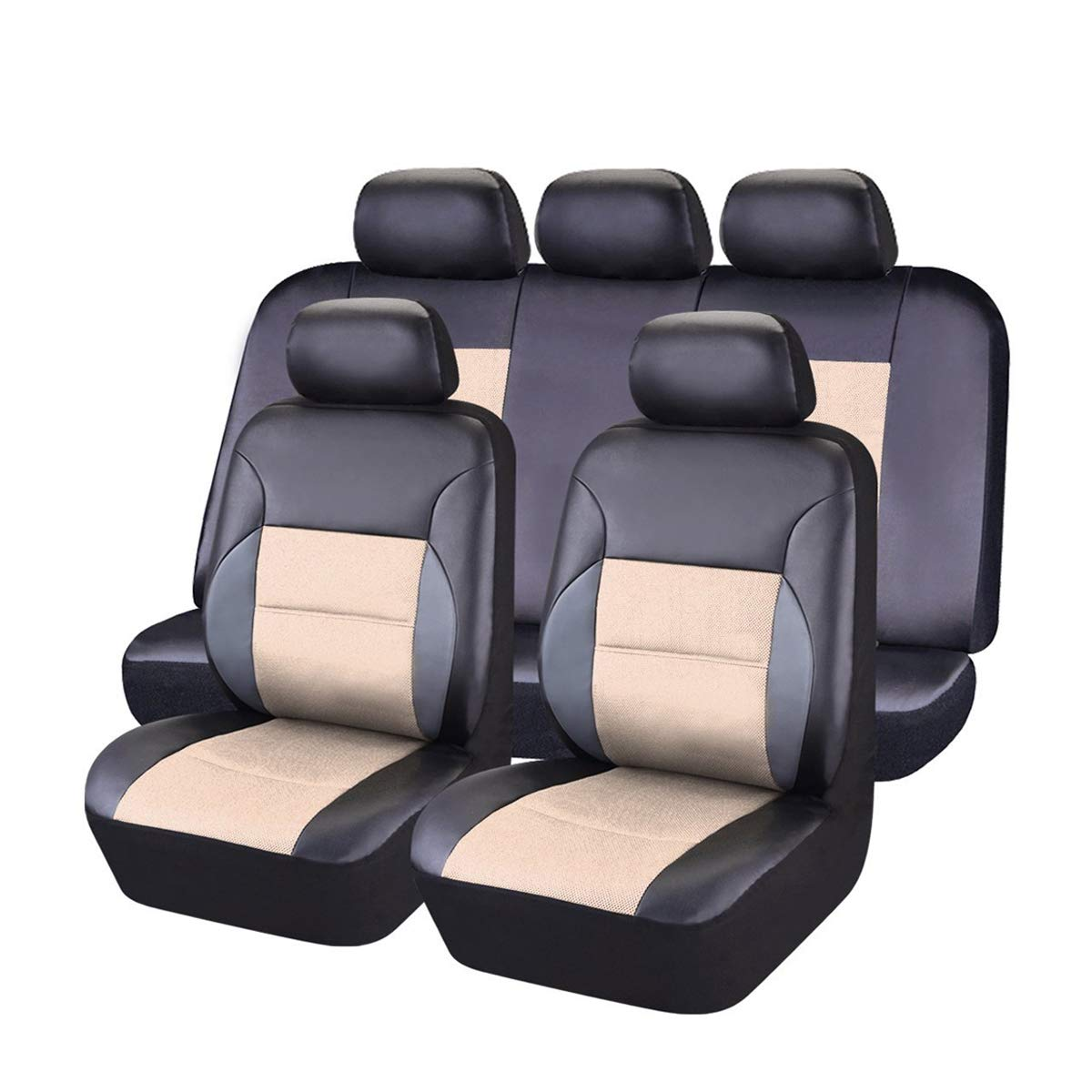 NEW ARRIVAL- CAR PASS 11PCS Luxurous Leather Universal Car Seat Covers Set,Universal fit for Vehicles,Cars,SUV,Airbag Compatible (Black and Beige) by CAR PASS