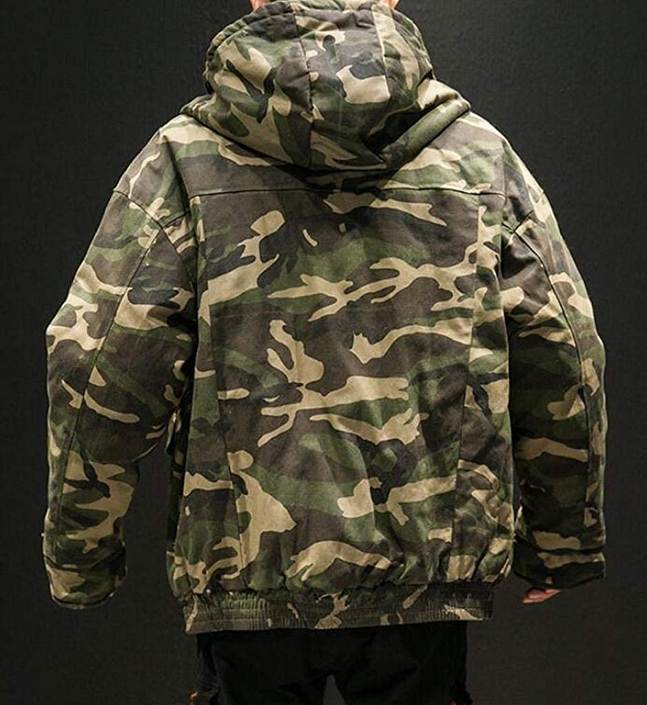 Suncolor8 Mens Relaxed Fit Winter Thicken Camouflage Plus Size Hooded Down Coat Jacket Outerwear