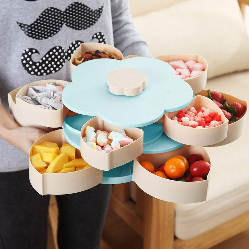 Bloom Snack Box Double-Layer Flower Rotating Food Storage Container Multi Sectional Snack Serving Tray Bowl Box for Nuts, Candies, Chocolate Cute Creative Party Favor by DaoAG (Image #5)