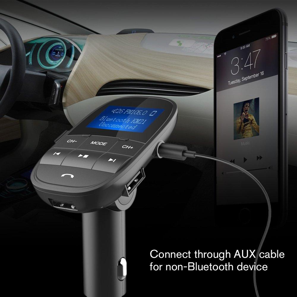 Nulaxy V4.2 Bluetooth FM Transmitter FM Transmitter KM21-Black Wireless FM Radio Car Bluetooth Adapter