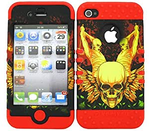 APPLE IPHONE 4G 4S CASE (SKULLS WINGS SNAP + Red SKIN), HIGH IMPACT DUAL LAYER PROTECTIVE FOR IPHONE 4 4S 4G, HARD & SOFT RUBBER HYBRID SHOCKPROOF BUMPER COVER - RD-TE312 CELLPHONE [ACCESSORIES N MORE]