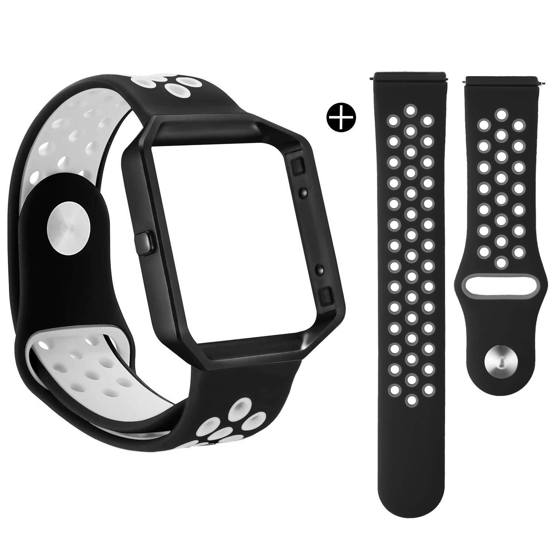 For Fitbit Blazeバンド, eseekgo 2パックシリコンバンド1個Fitbit Blaze交換用メタルフレームスポーツフィットネスアクセサリーリストバンド(トラッカーなし) Large Size (6.7\ Black/Whtie+Black/Gray with Black Frame B072K4F72Y