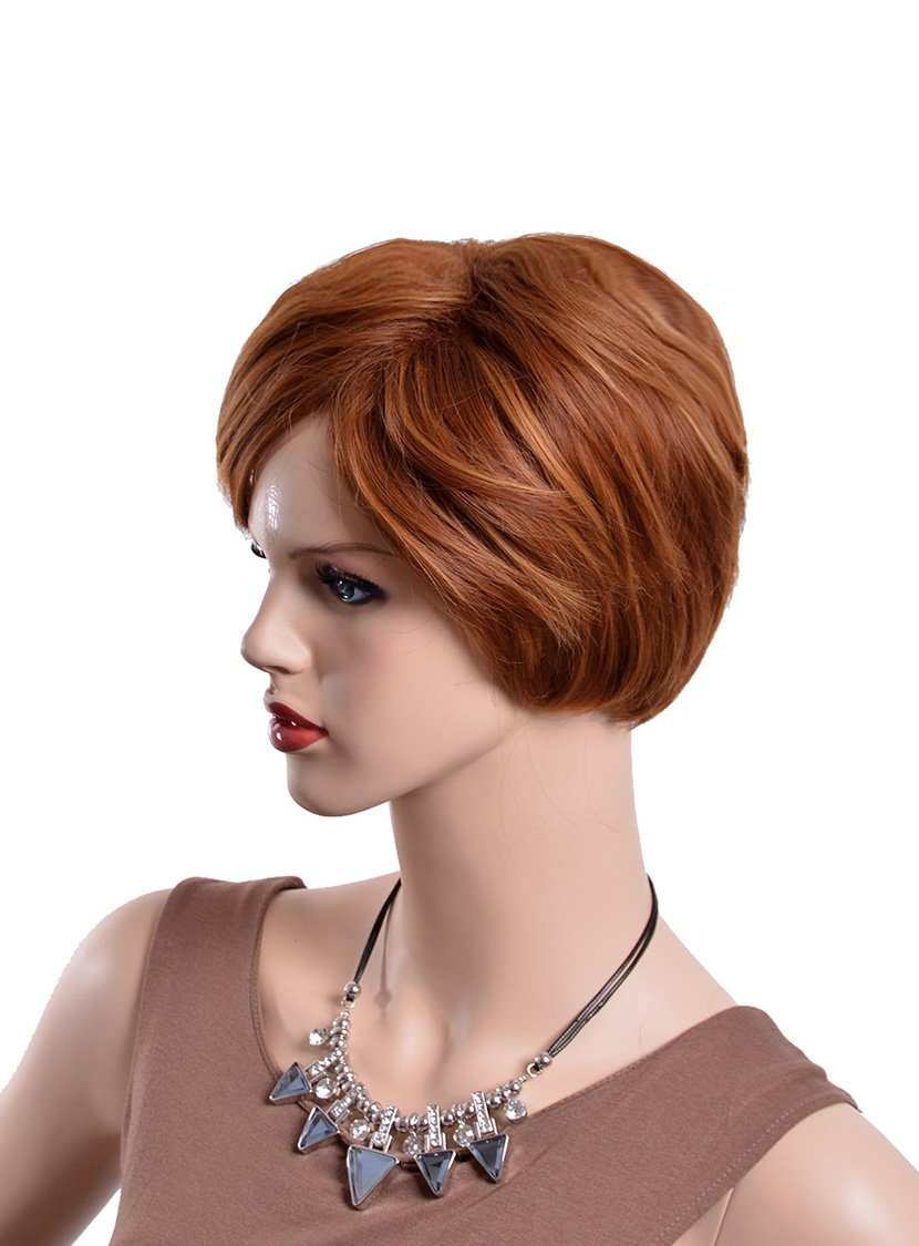 Amazon.com : Brown Color Short Wigs For Women Heat Resistant Synthetic Hair Synthetic Women Sinteticas Wigs : Beauty
