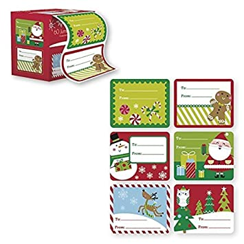 Amazon.com: 60 Jumbo Self Adhesive Christmas Gift Tags Labels in ...