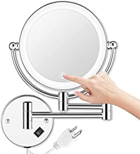 AMZNEVO Wall Mounted Makeup Mirror LED Lighted Touch Button Stepless Adjustable Light Double Sided 1X/5x Magnifying Vanity Mirror 360° Swivel Extendable for Bathroom Powered by Plug in-8 inches