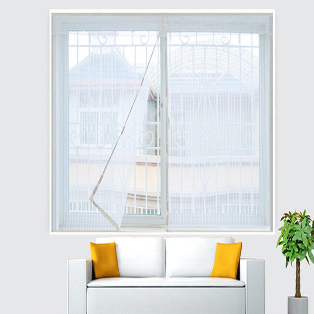 Anti mosquito Pantallas de la ventana,Pantalla de la ventana de velcro,Pantallas de ventana de marco completo velcro Auta-adhesivo Sin punz/ón Movible-Blanco 150x130cm 59x51inch