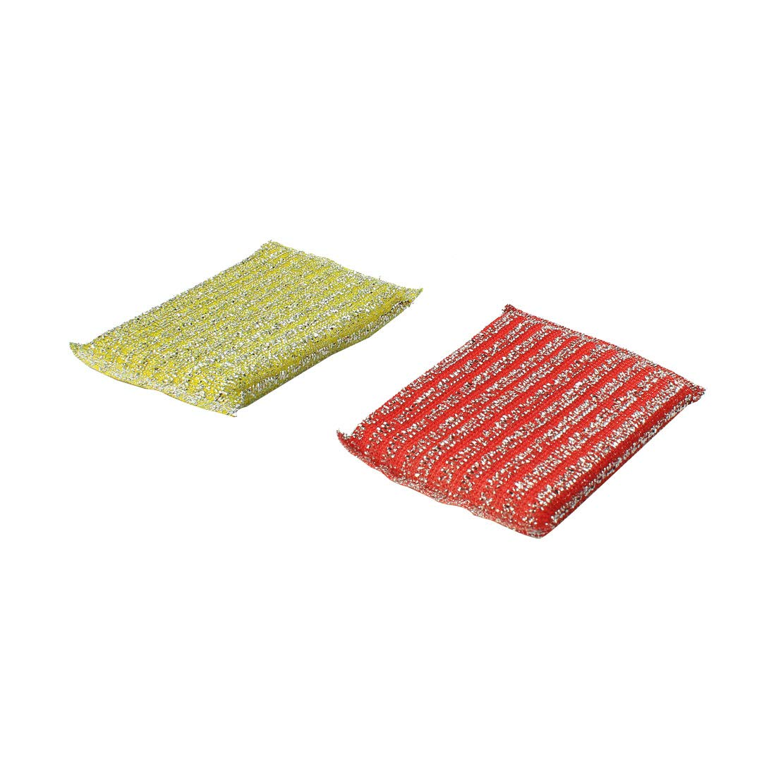 uxcell® Metallic Thread Scrub Sponge Pad Kitchen Dish Pot Pan Cleaner 2 Pcs Red Yellow US-SA-AJD-204303