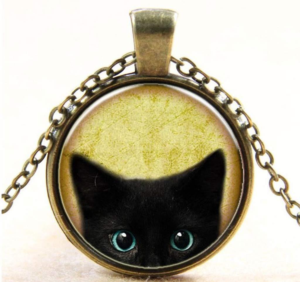 Sameno 2019 Fashion Retro Steampunk Mystery Cat Cabochon Glass Pendant Chain Necklace Charm Pendant Necklace