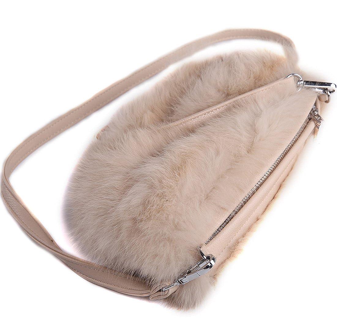 URSFUR Modische Handwärmer aus Echte Kaninchen Fell Tasche Schulranzen Umhängetasche Geldbörse Pelzmuff Handschuh Mufftasche SLB-12-3-DE-gcid