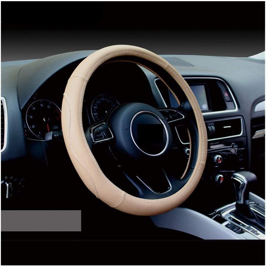 MZSC 38cm en Cuir v/éritable for Hyundai I30 IX35 IX25 Suzuki Lifan Car Styling Couvre Volant Color : Red
