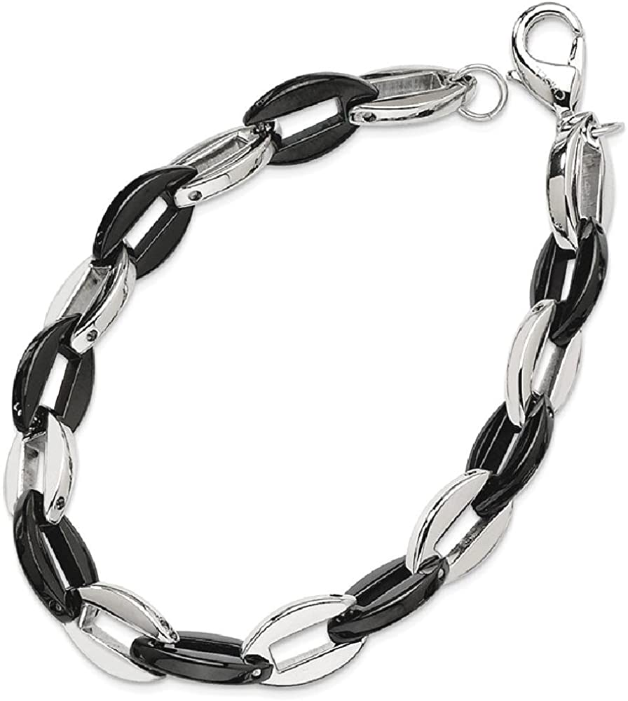 Stainless Steel Black Plated 7.5 Inch Bracelet Chain Fancy Fashion Jewelry for Women Gifts for Her