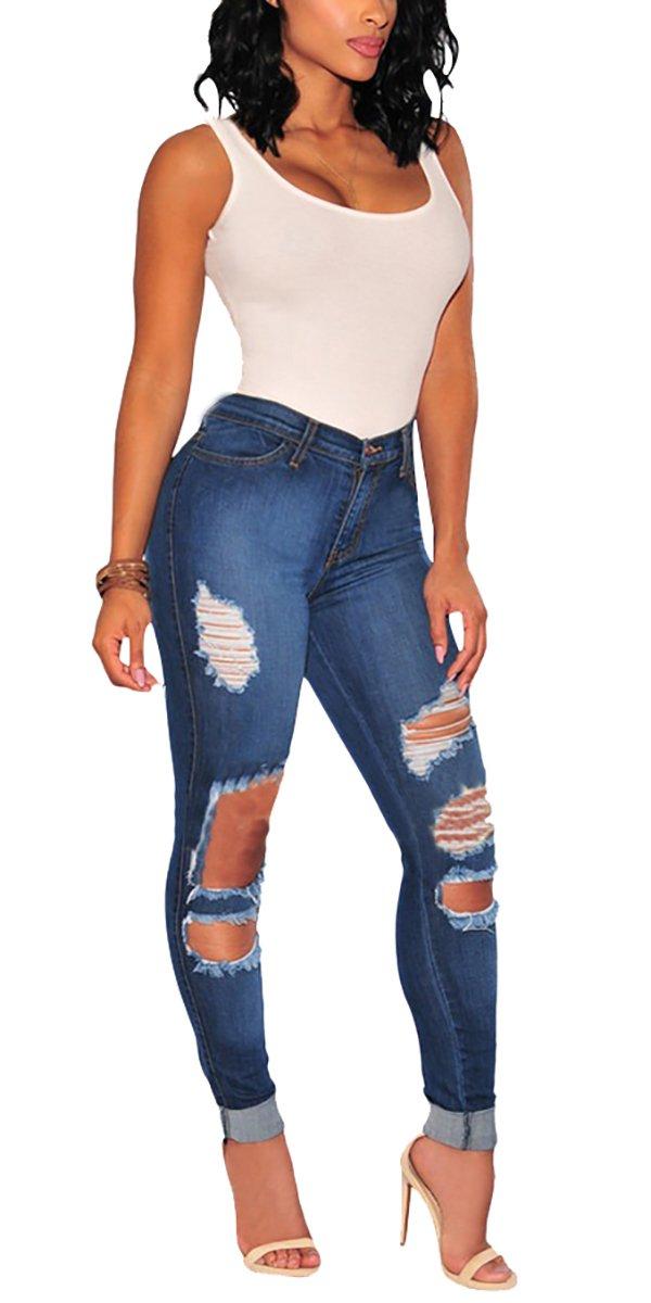 Gemijack Women's Cotton Slimming Butt Lift Distressed Jeans Skinny Denim Pants (L, Blue 02)