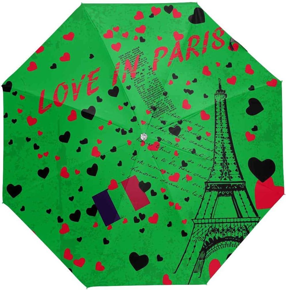 InterestPrint Custom Europe Paris Tower Anti Sun UV Foldable Travel Compact Umbrella