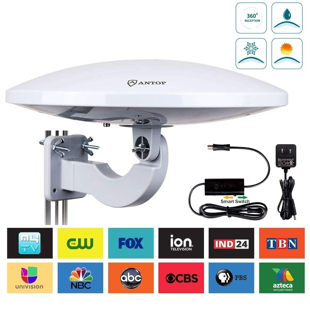 UFO 360° Omni-Directional Reception Outdoor TV Antenna 65 Miles Range with Smartpass Amplified & Built-in 4G LTE Filter for Indoor,Outdoor,RV,Attic Use Support VHF &UHF Digital Signal Grey by ANTOP