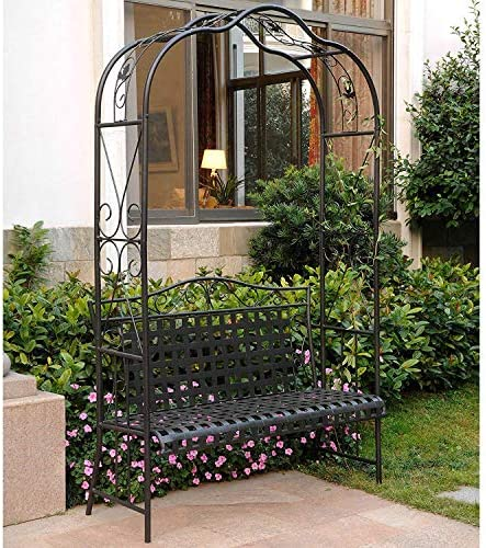 International Caravan 511197-OG-165267-O-852767 Iron Outdoor Arbor Bench, Hammered Bronze