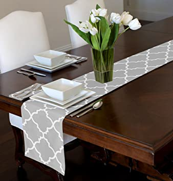 Perfect Grey U0026 White Trellis Table Runner Mat Topper (12u0026quot; ...
