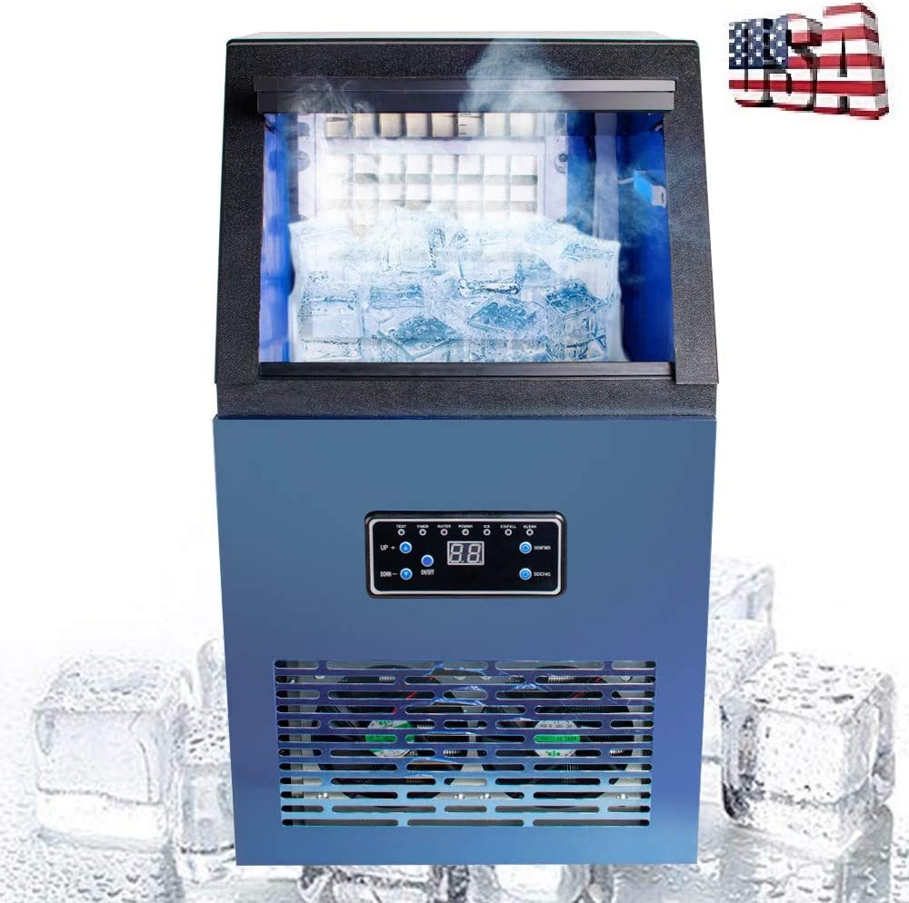 Zorvo Stainless Steel Commercial Ice Maker-Under Counter/Freestanding Automatic Ice Machine for Restaurant Bar Cafe, Products 110lbs Daily-w/Scoop, Ice Basket, Timer,Water Filter,AC110V 230W