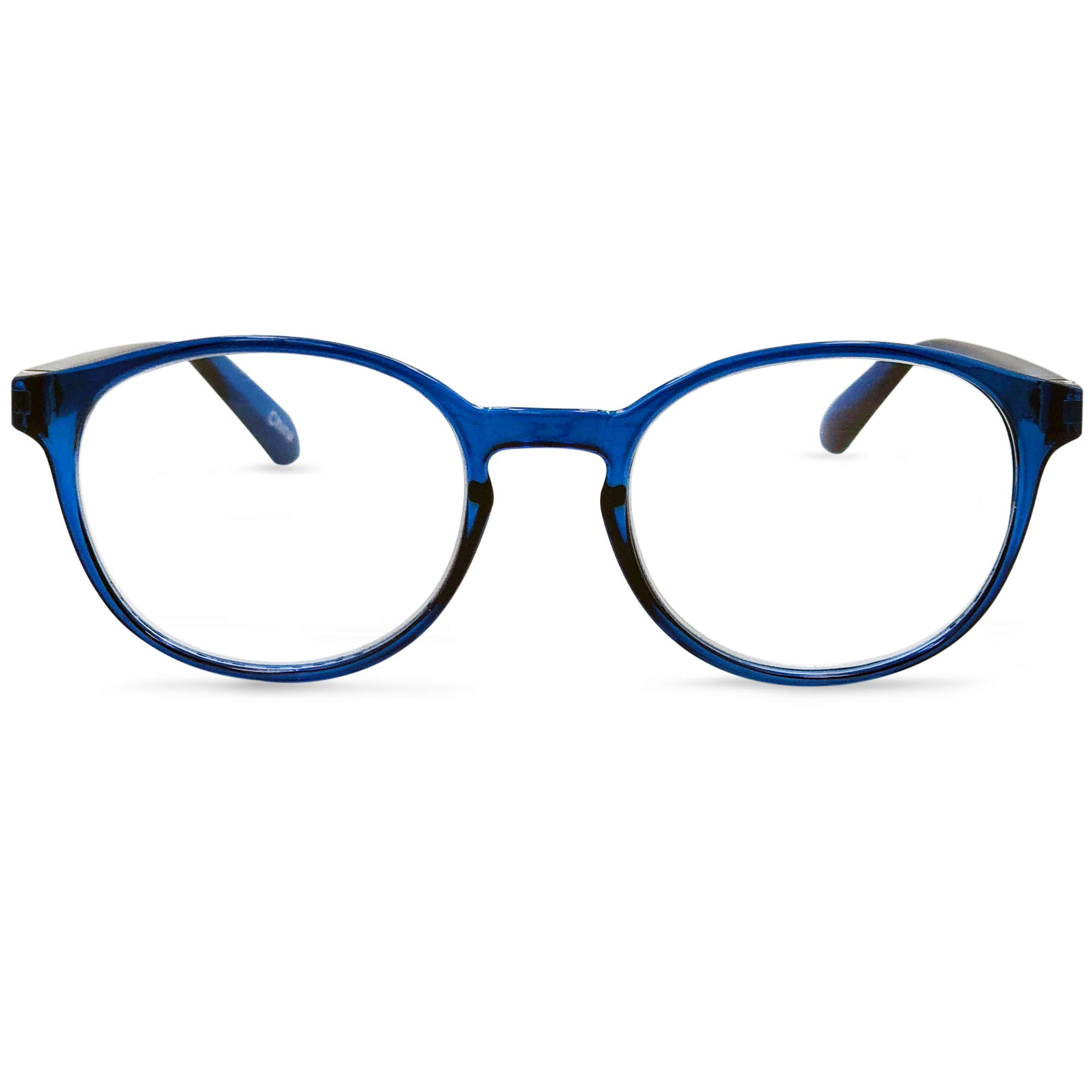 In Style Eyes Opulent Oval Clear Frame Reading Glasses Set with Case Blue +3.50