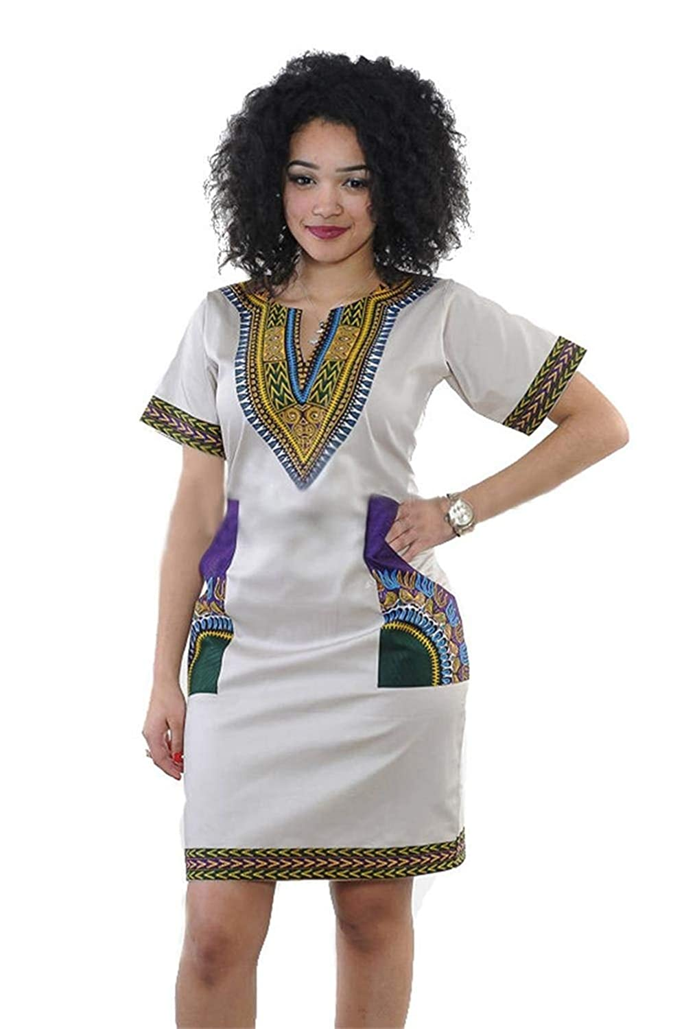 Buy Spice It Up Women S Regular Fit Fashion African Kitenge Print Dashiki Short Sleeve White Midi Casual Dress At Amazon In