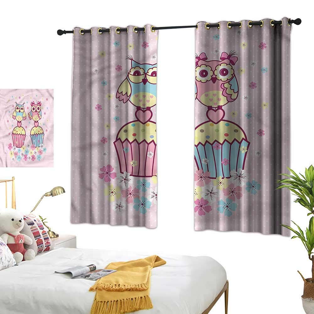 Lightly Waterproof Window Curtain Owls,Couples Cupcakes Romantic 54''x84'',Kids Blackout Thermal Curtain Panel by Lightly