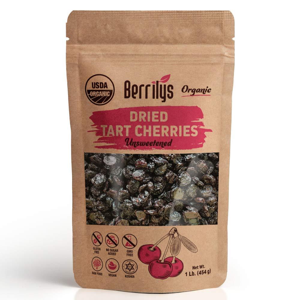 Berrilys Organic Dried Tart Cherries, 1 lb, Pitted, Non-GMO, Kosher, Unsulfured, No Added Sugar