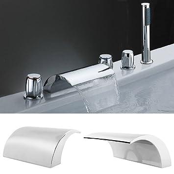 Badewannenarmaturen  amzdeal Wannenrandarmatur Wasserhahn Badewanne Armaturen mit ...