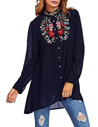 ROMWE Damen Lang Bluse mit Blumen Stickerei Stehkragen Locker Vorne Kurz  Hinten Lang Bluse Marineblau Einheitsgröße 0adcd0a742