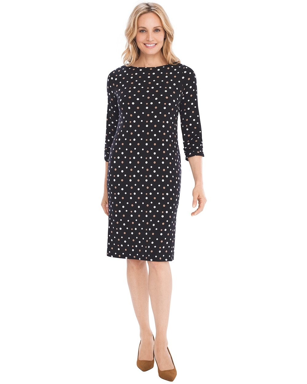 Chico's Women's Dot Ruched-Sleeve Dress Size 4/6 S (0) Black/White