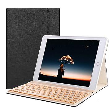 Boriyuan Funda teclado iPad 9.7,Funda con teclado español cuero para iPad 9.7 2018 6th