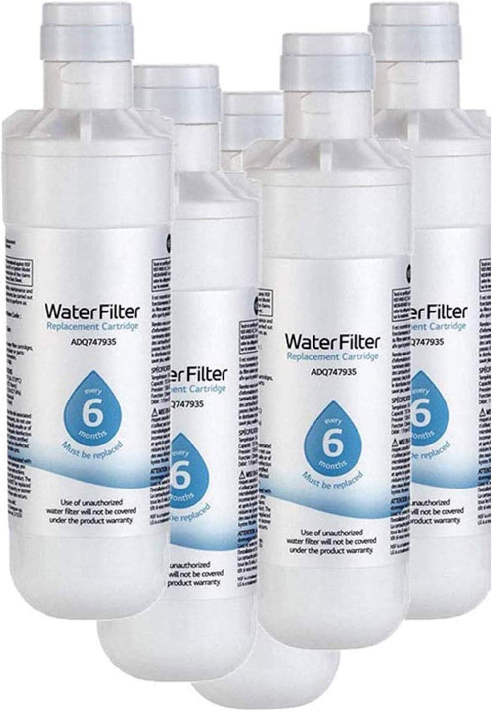LNLJ 6 Mes / 200 Galones De Capacidad De Reemplazo del Filtro De Agua del Refrigerador, Reemplazable Fit Kit para LT1000P, LT1000PC, MDJ64844601, ADQ747935 ADQ74793504, Kenmore 469980,5pcs