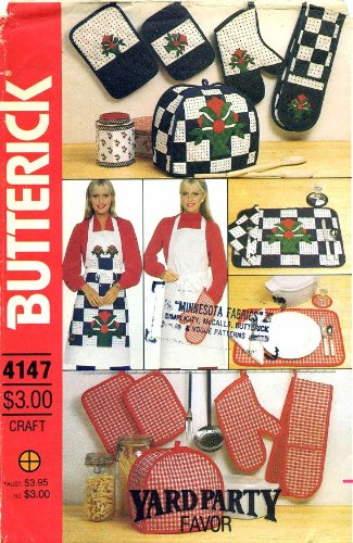 Butterick 4147 Sewing Pattern Kitchen Accessories Appliance Covers Pot Holder Oven Mitt