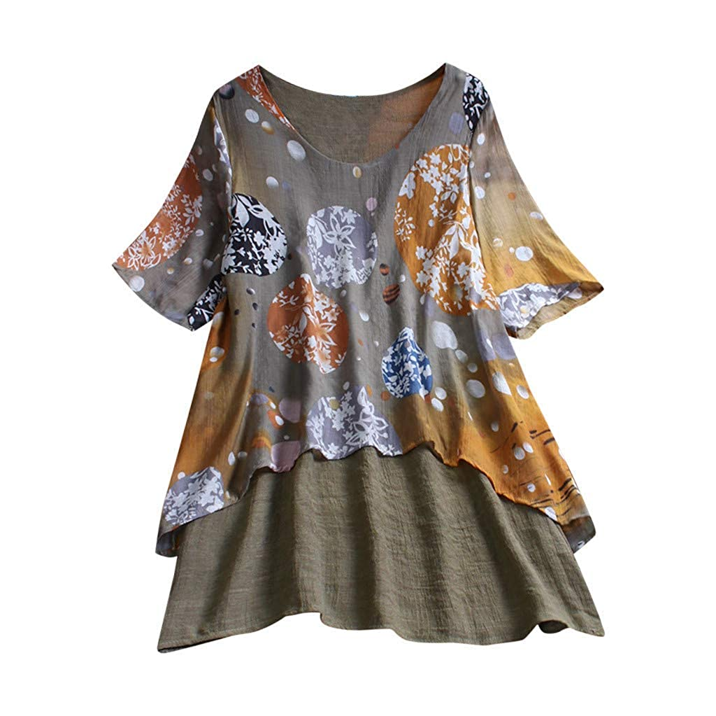 Lazzboy Tops T Shirt Women Boho Ethnic Long/Short Sleeve Oversized Plus Size Holiday Hippie Swing Tunic Blouse