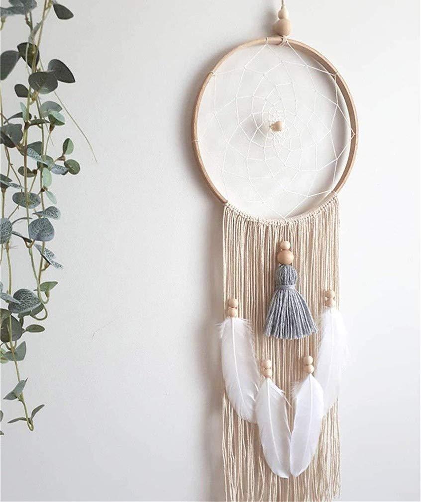 SUMJULY Large Handmade Dream Catcher Boho Decor Kids Feather Tassel Macrame Wall Hanging Decoration Gifts 29'' Long