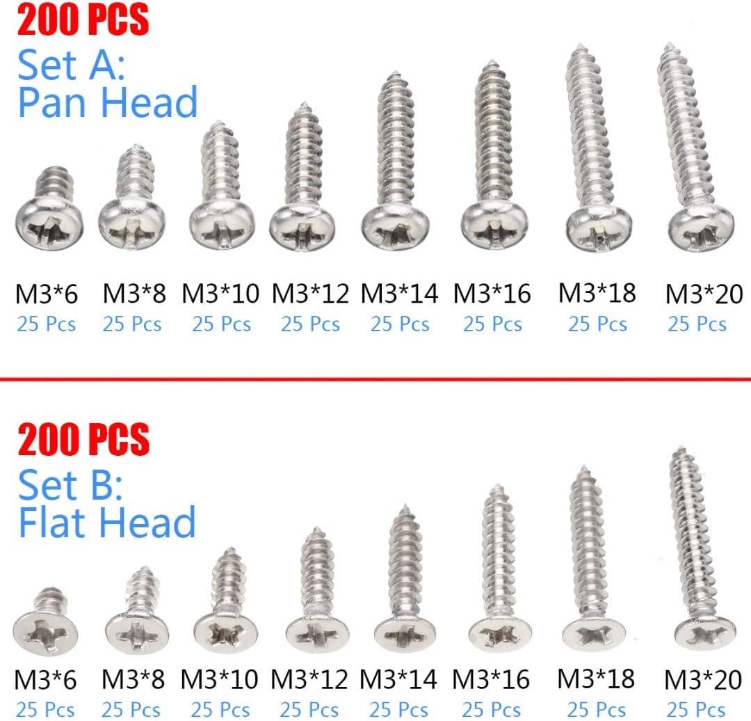 200 x M3 Stainless Steel Pan Flat Head Self-Tapping Wood Screws Assortment Kits