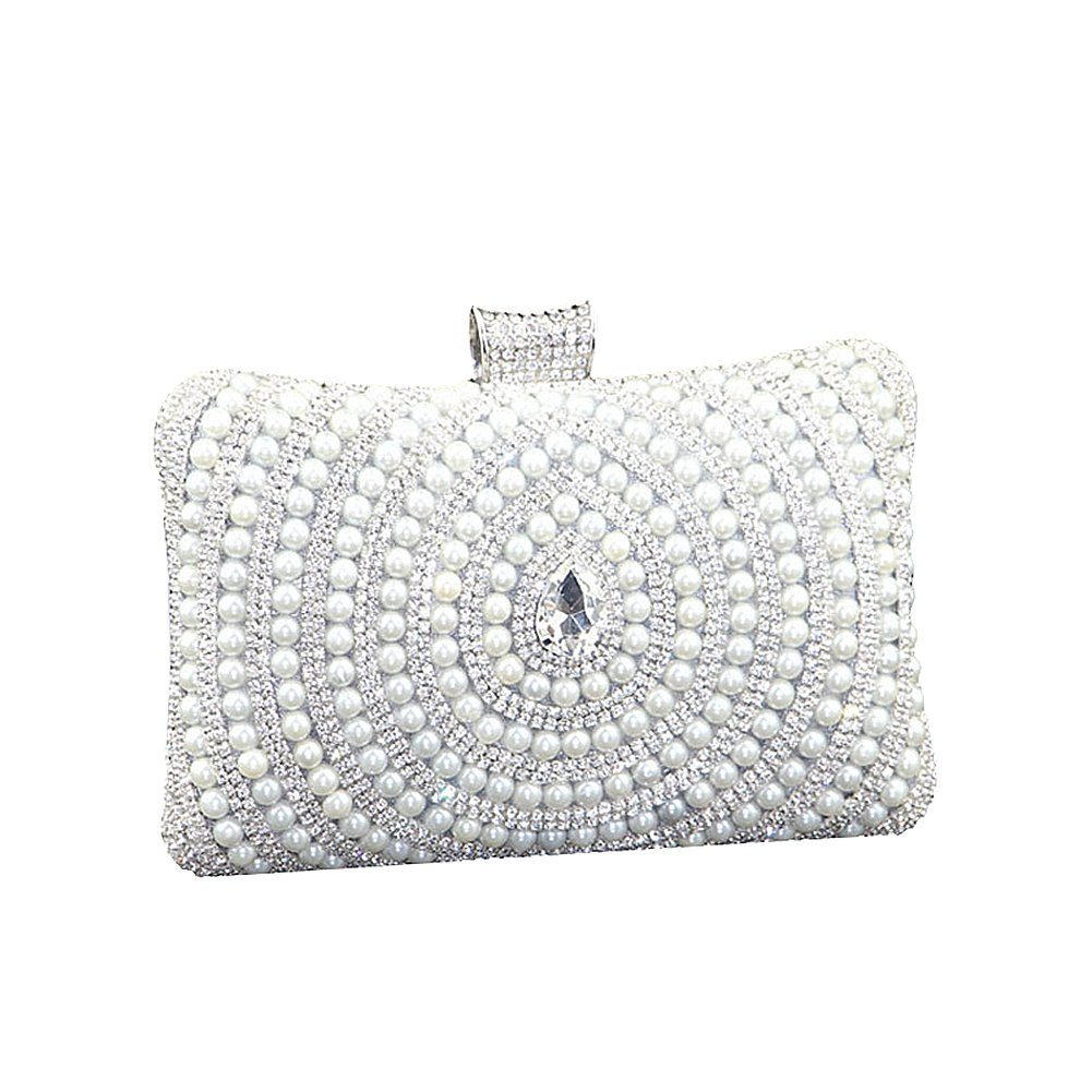 1ff48bb1b3f SSMK Womens Pearl Beaded Rhinestone Clutch Bag Elegant Designer Ladies Evening  Bag (Silver)  Amazon.co.uk  Shoes   Bags