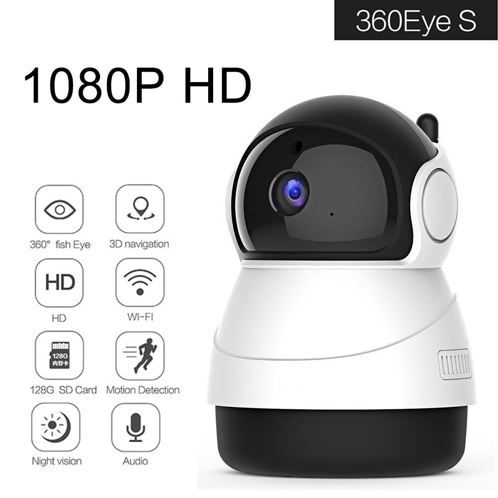 KOBWA Cámara IP Interior, 1080P Vigilancia HD Wifi Cámara IP con visión nocturna, movimiento de alarma, Auto giratorio, 2 Vías de audio, Hogar Monitor Baby Monitor, App iOS/Android/PC