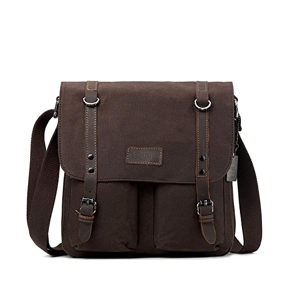 8db98bcacd TRP0429 Troop London Heritage Canvas Leather Messenger Bag